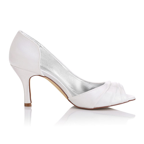 WR-A31-38 Peeptoe Shoe Style Delicated Dyeable Satin Bridal Shoe Made in China Factory