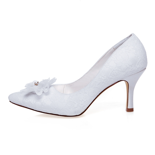 WR-A31-13 Ivory Color Pointy Shoe Toe with Nice Flower Details
