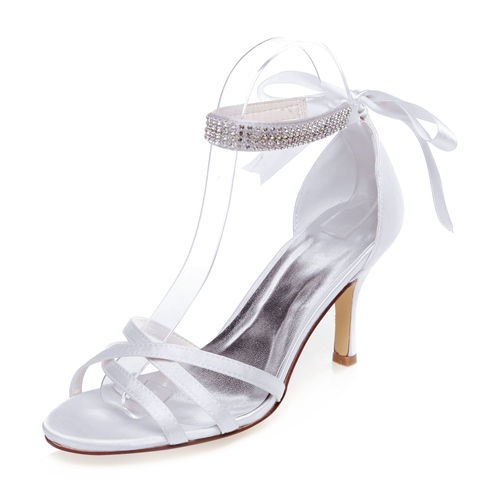 WR-141-14 8cm heel height without platform sandal wedding bridal shoes with Rhinestones