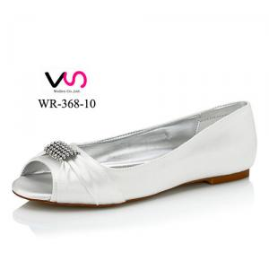 WR-368-10 Dyeable Satin Flat Sole Wedding shoes Bridal Shoe Dyeable Accepteable