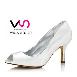 WR-A31B-12C Ivory Color 8cm Heel Height Dyeable Satin Women Wedding Shoe Bridal Shoe made in China Wholesale Price