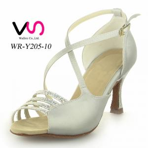 Silver color strappy professional dance shoes