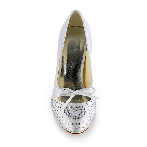 handmade rhinestone bridal shoes round toe high heel wedding shoes