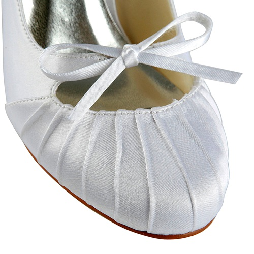 Cheapest wholesale price simple bow wrinkle bridal shoes