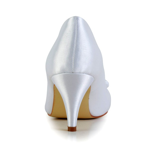 Kitten heels round shoe toe bridal shoes wedding shoes
